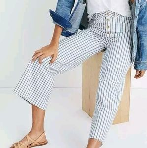 Madewell Emmett Wide Leg Railroad Stripe Pants new